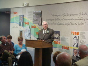 Dick Wilkin giving remarks during the Dedication of the Wilkin Center for Christian Ministries