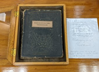 Wooden Box with Pulpit Bible from Wooster Ohio